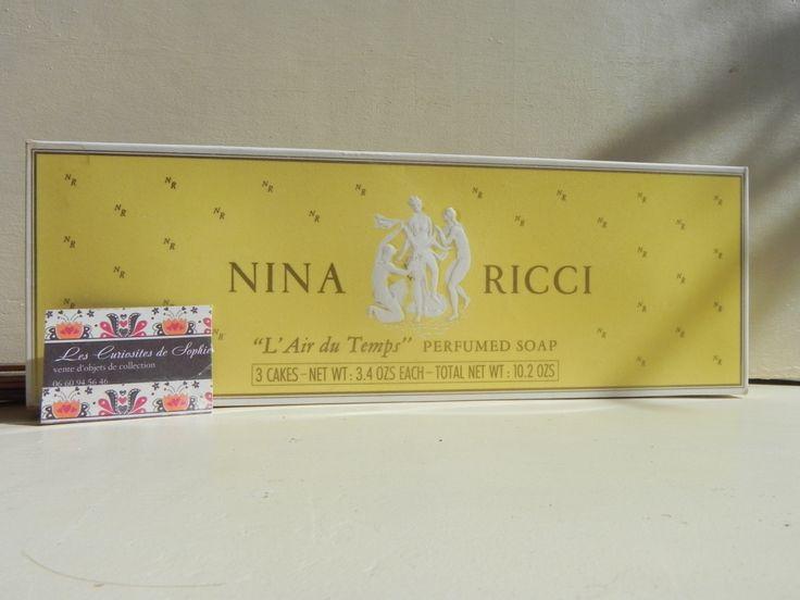 """Nina Ricci """" L'air du temps"""" 3 savons  parfumés dans une boite Paris  envoi gratuit enveloppe bulle cadeau pour elle en bon état comme neuf de la boutique CuriositesdeSophie sur Etsy"""