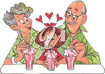 Grandparents enjoying sodas with their granddaughter