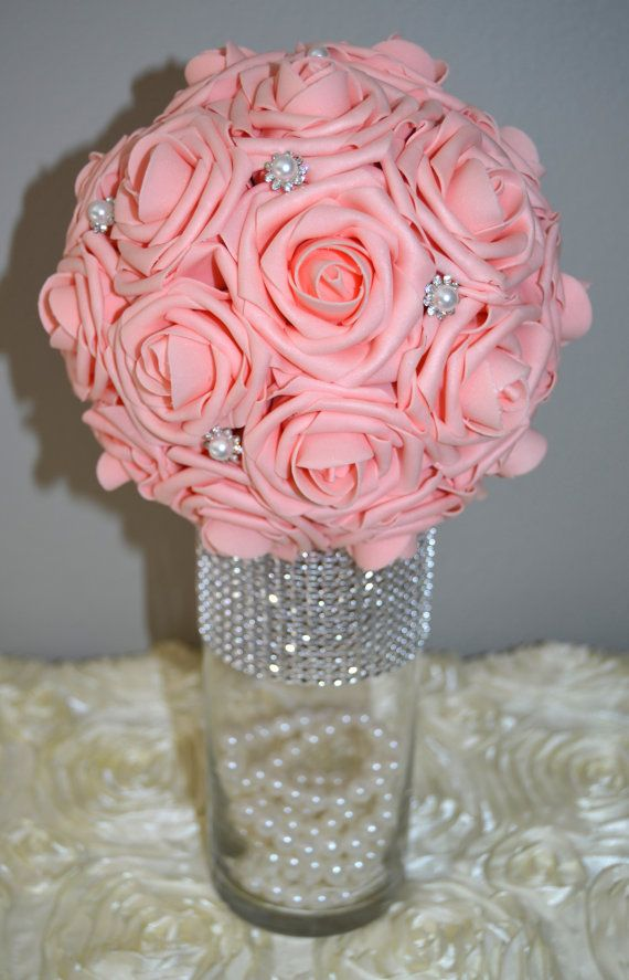 Pink foam flower ball WEDDING CENTERPIECE kissing by KimeeKouture