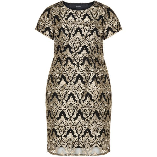 Manon Baptiste Black / Gold Plus Size Metallic lace dress ($225) ❤ liked on Polyvore featuring dresses, black, plus size, gold dress, short cocktail dresses, gold plus size dress, plus size fitted dresses and plus size short dresses