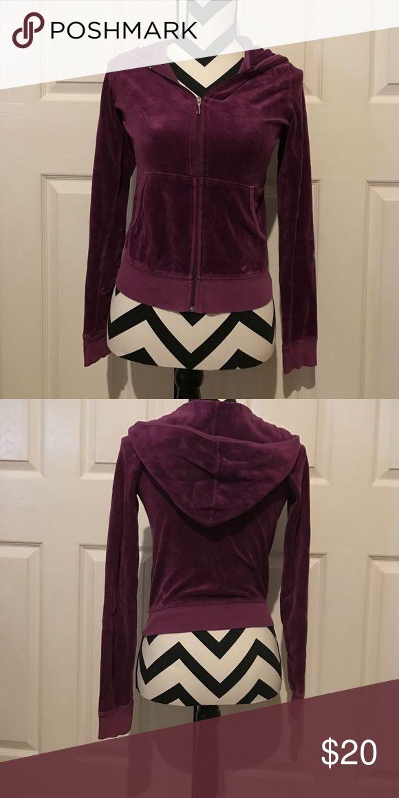 Juicy Couture Medium Purple Zip up velour hoodie Good condition! Bundling discounts, comment below:) Juicy Couture Jackets & Coats