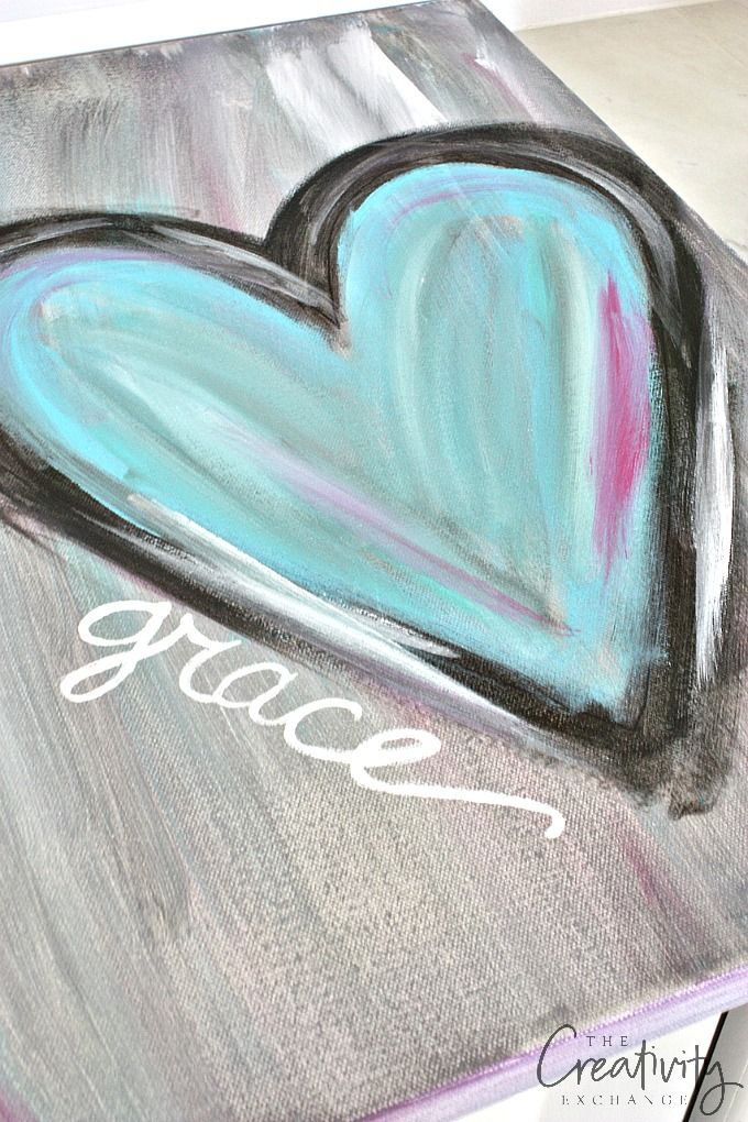 DIY Abstract Heart Art Painting. Step by step tutorial.