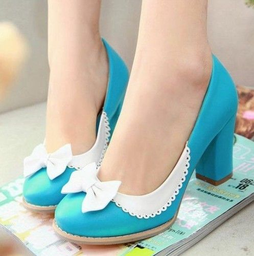 Ladies Elegant Bow Tie Colored Block High Heel Pumps Court Shoes Plus Size 916 | eBay