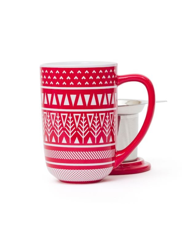 Who wants this festive print on a sweater? We do! We do! Nordic Mug with infuser & lid.