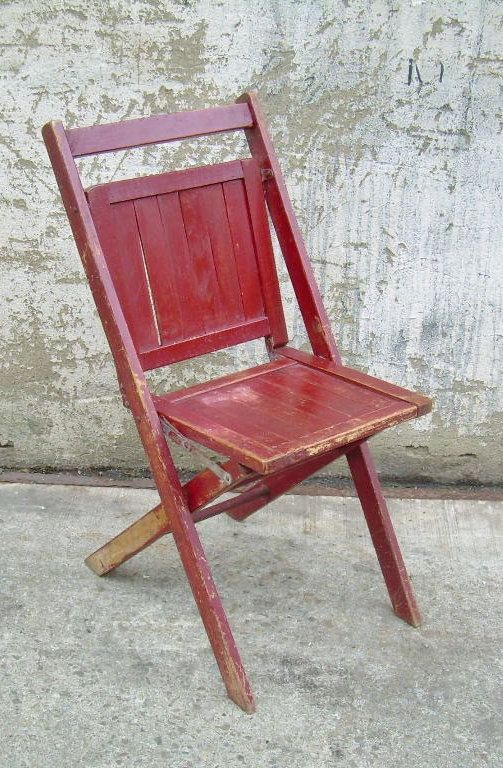 Vintage Wood Folding Chair Burgundy Rustic Furniture