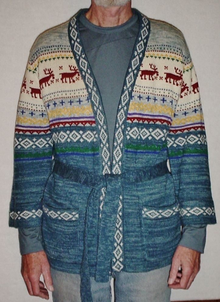 "UGLY!! Vtg Mens/Ladies 40 (M) Belted CHRISTMAS ""Reindeer"" Cardigan Sweater,Teal #MonarchKnits #Cardigan"