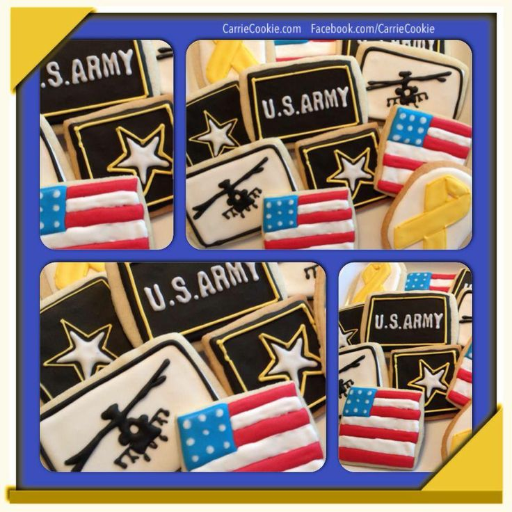 http://www.facebook.com/carriecookie US Army cookies, flags, Apache helecopter, yellow ribbon, Memorial Day, Independence Day, 4th of July