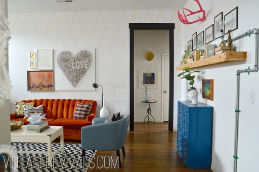 """This room was previously labled """"hipster living room"""". It definitely has character and youthfulness.I esp like that black door frame."""