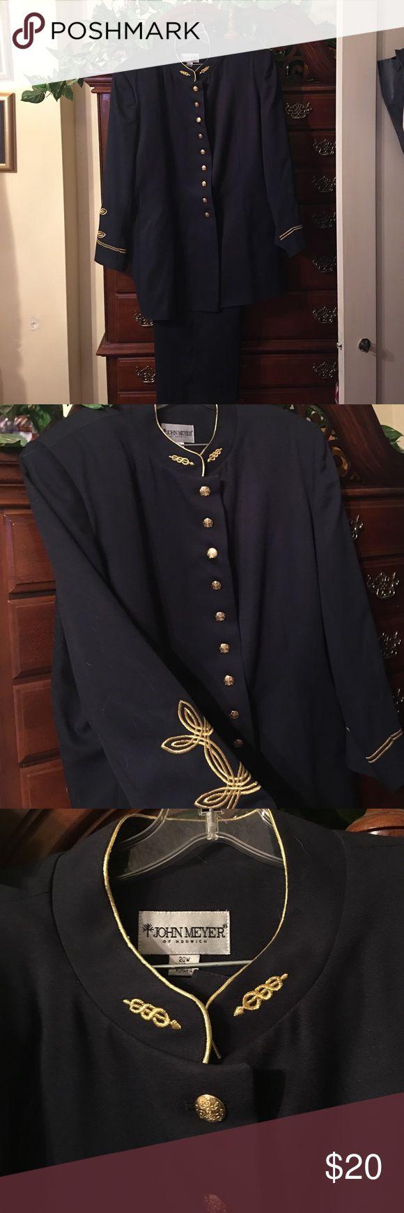Black Plus Size Pant Suit Plus Size Pant Suit with gold trimming & gold buttons John Meyer of Norwich Pants Trousers