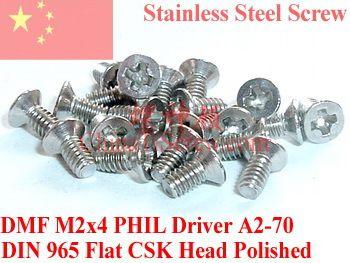 $0.85 (Buy here: https://alitems.com/g/1e8d114494ebda23ff8b16525dc3e8/?i=5&ulp=https%3A%2F%2Fwww.aliexpress.com%2Fitem%2FStainless-Steel-Screws-M2x4-Flat-Head-0-Phillips-Driver-DIN-965-A2-70-Polished%2F32368378312.html ) Stainless Steel Screws M2x4  Flat Head 0# Phillips Driver  DIN 965 A2-70 Polished for just $0.85