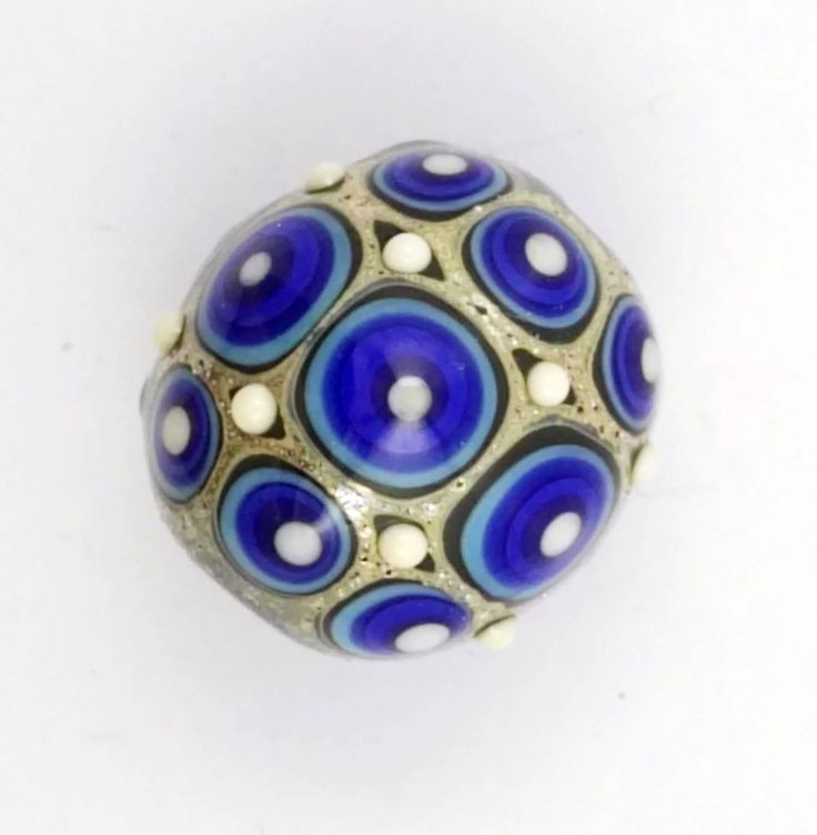 Artisan lampwork bead small size focal bead in blue and ivory di alessiafuga su Etsy
