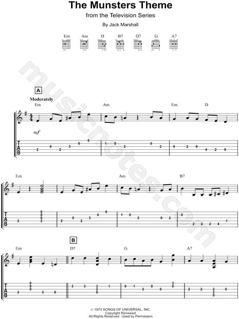 Print and download The Munsters The Munsters Theme Easy Guitar TAB. Includes Easy Guitar TAB for Guitar in E Minor.