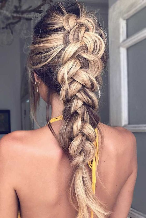Loose dutch braid.