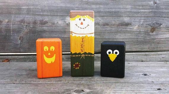 Fall decor set, wooden fall toys, wood scarecrow, wooden Jack o lantern, black crow, the raven, hand painted fall decorations, Waldorf fall