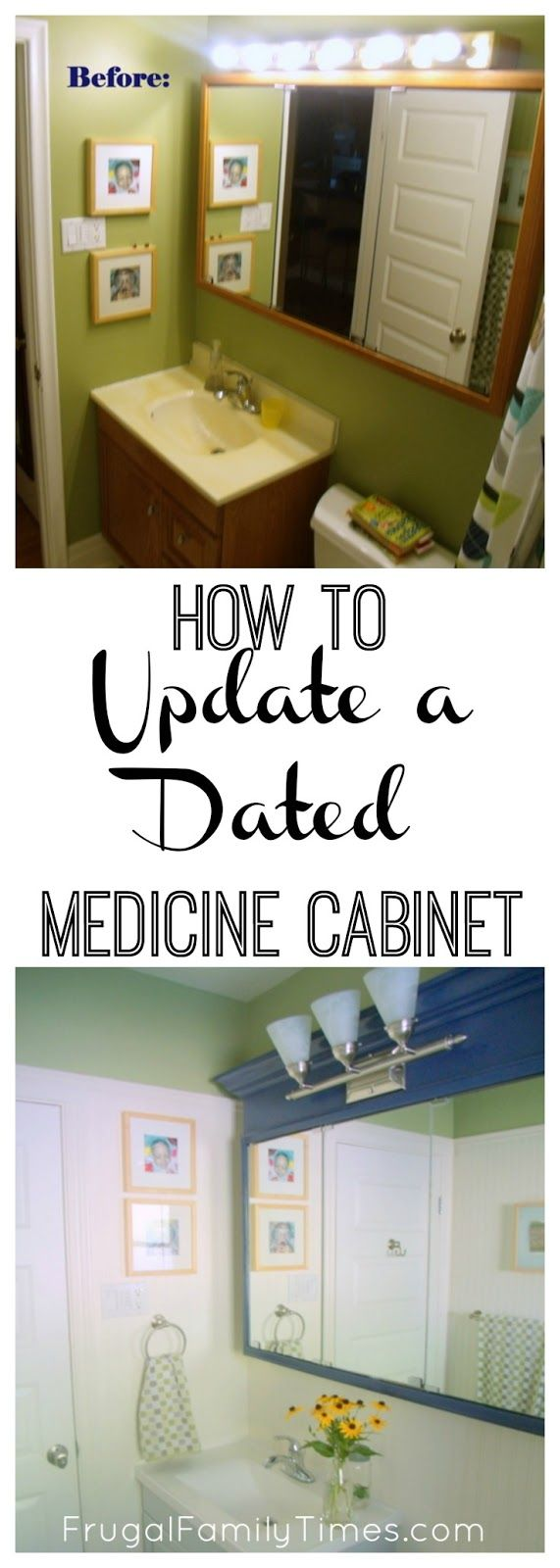 A fun and frugal makeover of an old dingy medicine cabinet.