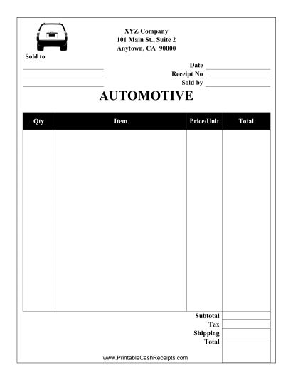 This Automotive Receipt Is Designed To Be Used By A Garage