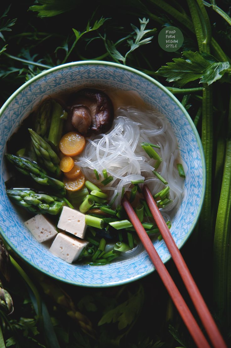 Harusame Noodles in Shiro Miso Ginger Broth with Leek, Celeriac, Carrot, Wakame…