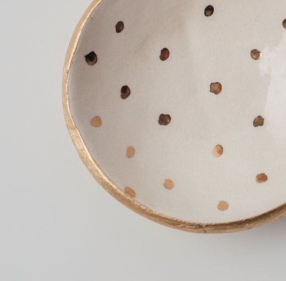 White and Gold Dot Dish by upintheairsomewhere on Etsy, $28.00 :: Perfect Wedding Ring dish