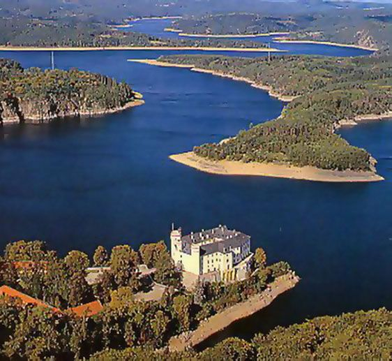 Orlík dam from another birds view (South Bohemia), Czechia