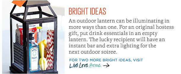Great hostess gift idea - use a lantern to hold gift items!