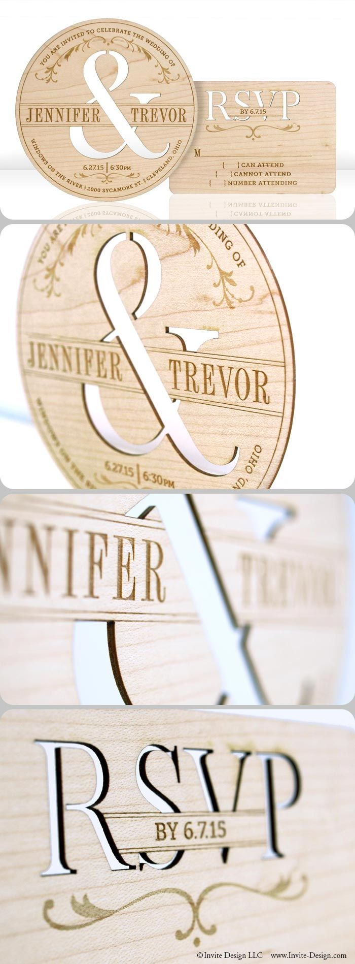 "TYPOGRAPHY :: Laser cut wood wedding invitations. These contemporary, typography-inspired wedding invitations and accompanying response cards feature stunning engraved detail. Environmentally friendly invitations are laser cut into 1/16"" reclaimed wood planks. $11.99 at http://www.invite-design.com/#!product/prd12/2202412535/typography-invitation"
