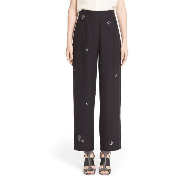 Veda 'Uma' Print Silk Pants (8.205.195 VND) ❤ liked on Polyvore featuring pants, elements black, patterned trousers, patterned pants, high rise black pants, print pants and high waisted black trousers