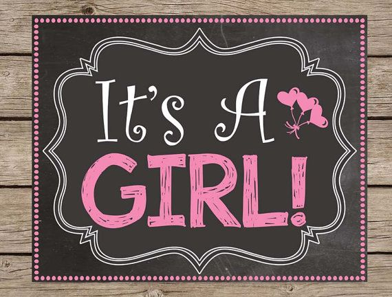 It's A Girl Pregnancy Announcement Chalkboard Sign - Its A Girl PRINTABLE Pregnancy Reveal Chalkboard Gender Reveal Girl Boy Due Date Poster #kids #quotes #pregnancy