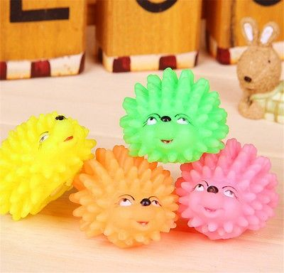 awesome 1PCS Cute Hedgehog Shape Pet Dog Puppy Squeaky Chew Toy Squeaker Ball Funny Toys - For Sale