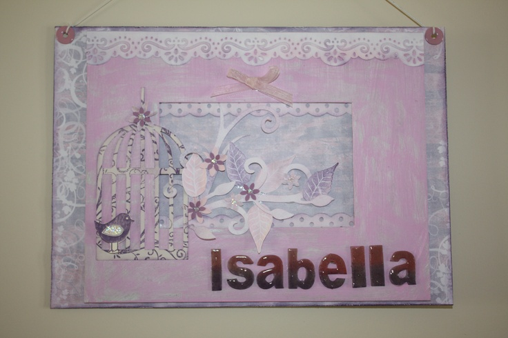 I've used an A4 chipboard photo frame kit and used paints and scrapbooking papers and embellishments to design a name plaque that can be hung on a door or wall and also comes with a stand that can attach to the back so you can display on a shelf.  As this is handmade colours and themes can be changed.