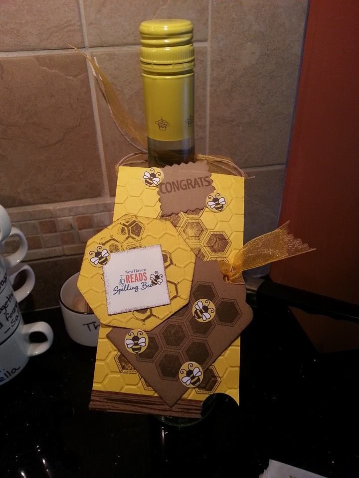 Custom Honeybee Themed Bottle Gift Tag Made For New Haven Reads Spelling Bee