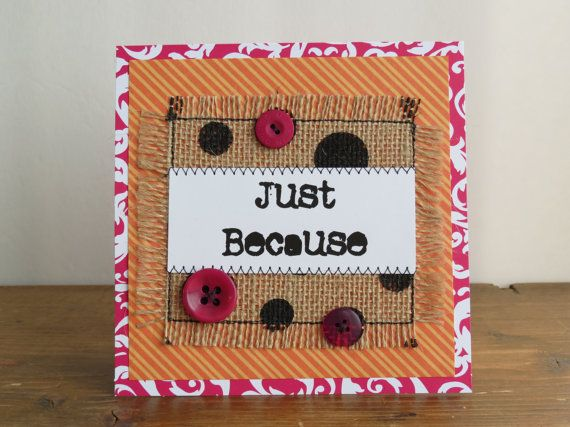 Quilted Burlap Card Handmade Burlap Card by TwilightRavenDesigns