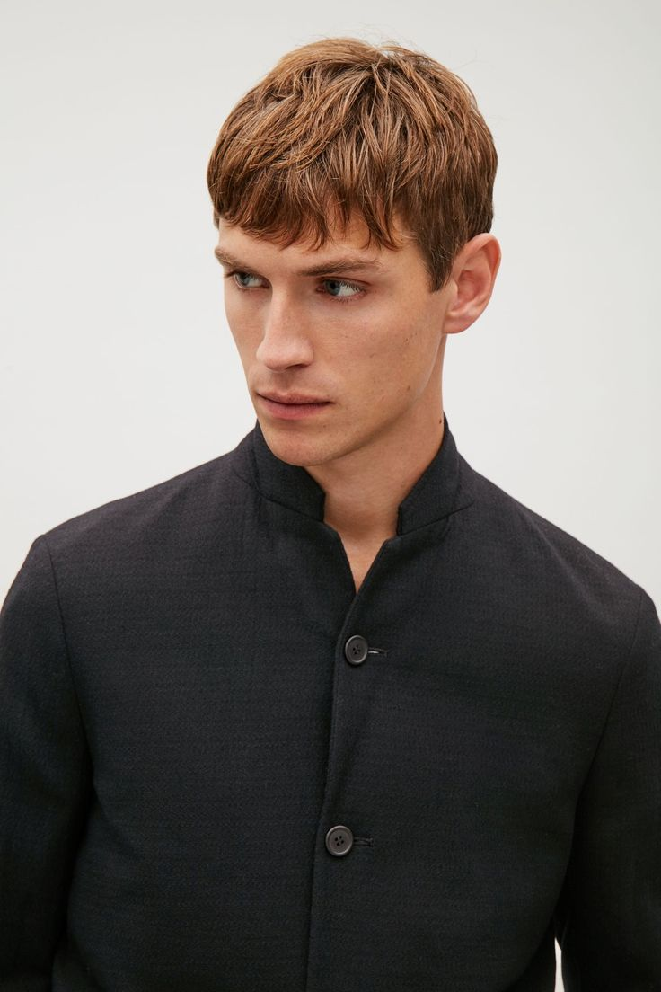 COS image 4 of Wool crepe blazer in Black