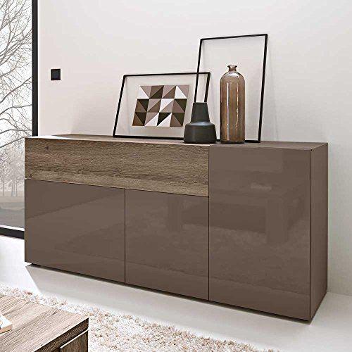 Sideboard in braun hochglanz grifflos breite 175 cm for Wohnzimmer 4 x 10