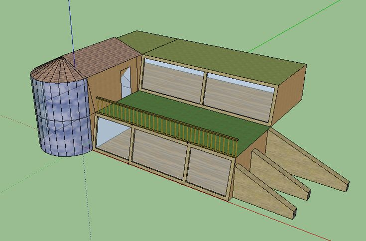 Double height earthship design. Buttresses on the bottom right can be used for compost piles. The house can be designed to run heating pipes under these compost piles (which can be diverted when not in use), which will produce free central heating for the home!