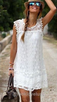 Hollowed Out Short White Lace Summer Beach Dress - Casual Dresses - Look Love Lust
