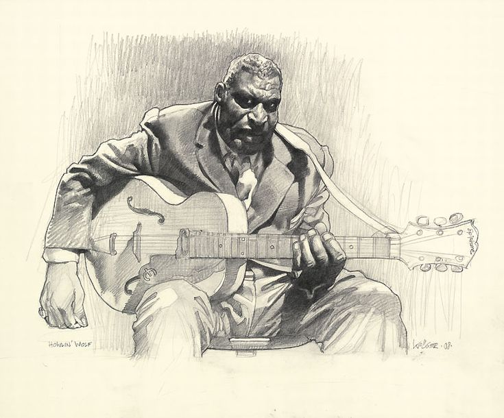 Very nice Howlin' Wolf drawing by Sebastian Kruger!