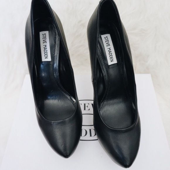 Steve Madden Black Heels Steve Madden Black Heels  Black leather platform heels by Steve Madden. Has gem stone or rhinestone stone detailing on the back. Get the CELEB look, inexpensive dupe to the YSL platform heel!   Only worn twice   Size 9, fits true to size, 5 1/2 inch heel Steve Madden Shoes Heels