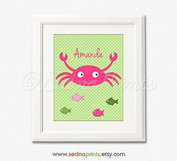 Personalized Nautical Nursery Art Print - 8x10 - Children wall art, Baby Girl Room Decor, crab, fish - UNFRAMED on Etsy, $13.50