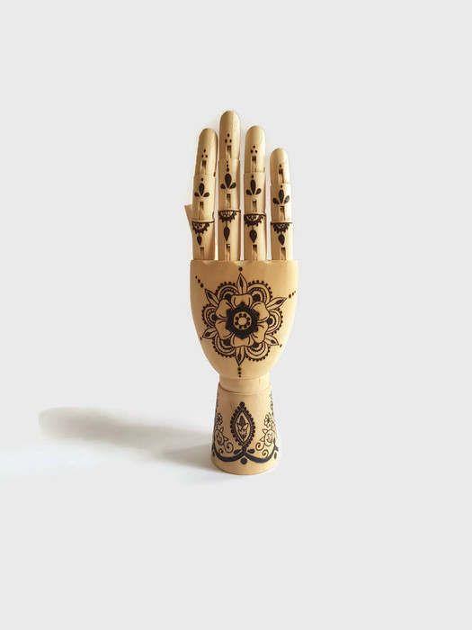 Mannequin Hand - Henna Hand, Henna Tattoo, Wood Burning, WoodBurning, Pyrography, Drawing Hand, Tattooed Hand, Henna, Manikin Hand