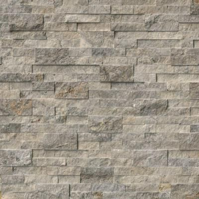 MS International Trevi Gray Ledger Panel 6 in. x 24 in. Natural Travertine  Wall