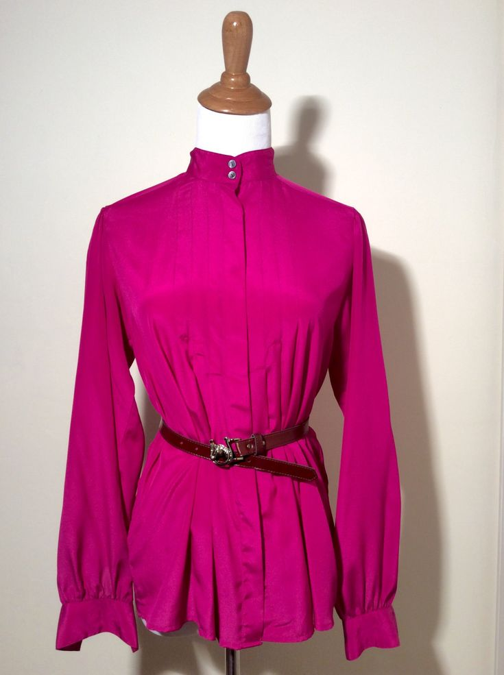 Vintage 80s Super Bright Magenta/Neon Pink Blouse by Jack Mulqueen! Hot Lady by LOVELADYBIRDVINTAGE on Etsy