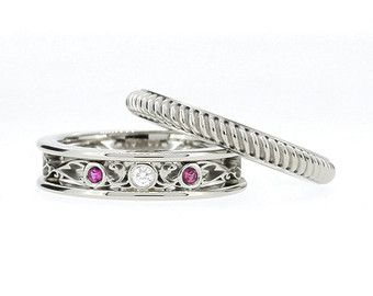 anillo de compromiso conjunto diamante negro zafiro blanco