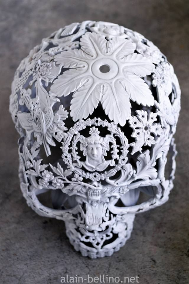 white metal skull by Alain Bellino