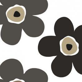 Tissu en toile cirée à fleurs grises sur fond blanc