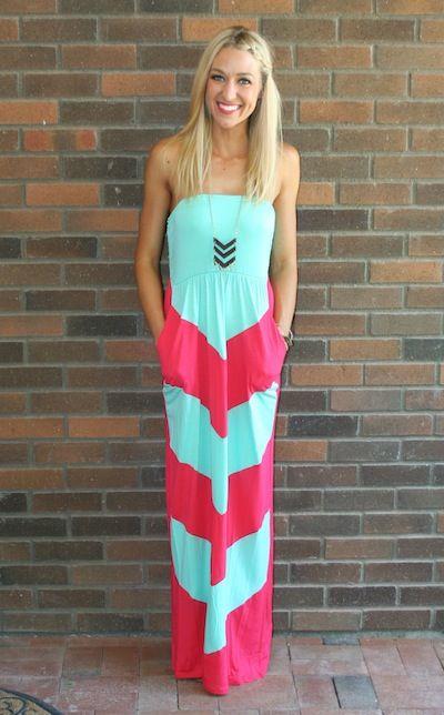 Coral Chevron Maxi Dress - Missy Dress