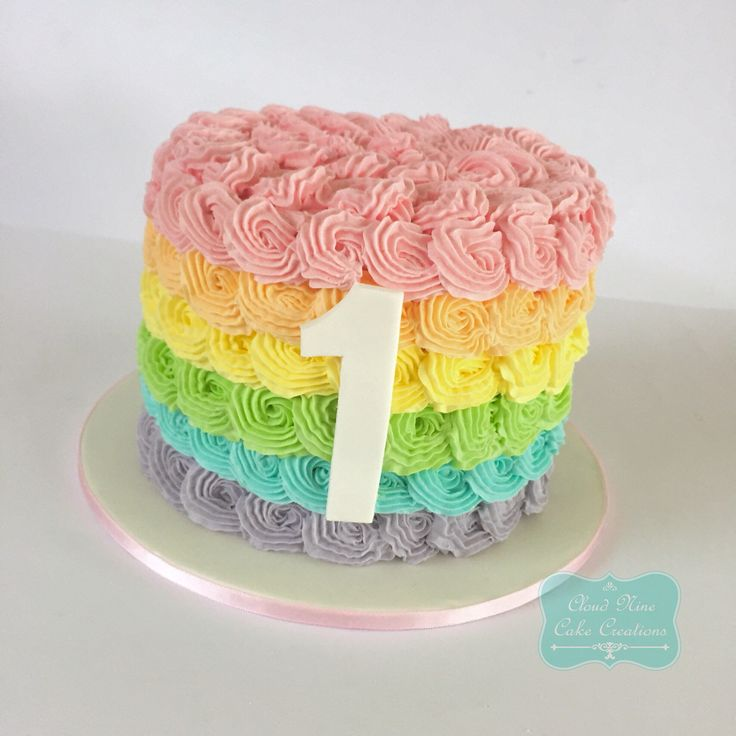 Pastel rainbow smash cake