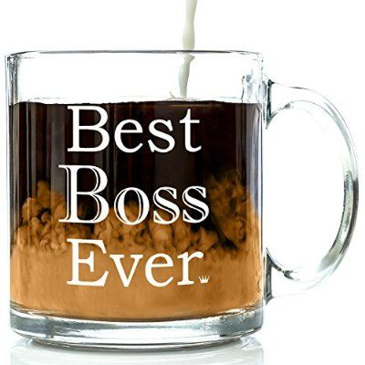 Best Boss Ever Glass Coffee Mug 13 oz - Work and Office Christmas Gifts For Worlds Best Male or Female Boss, Manager or Coworker - Top Birthday, Holiday and Retirement Present Ideas For Men and Women