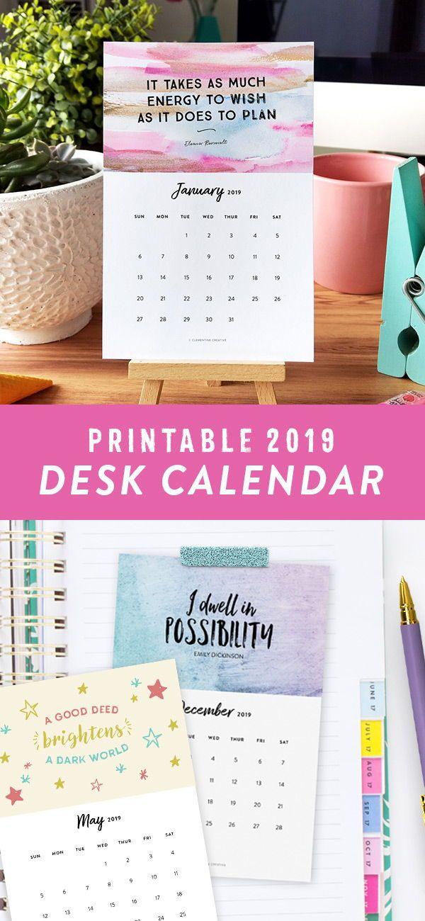 Printable 2019 Desk Calendar (Motivational) Calendars Pinterest