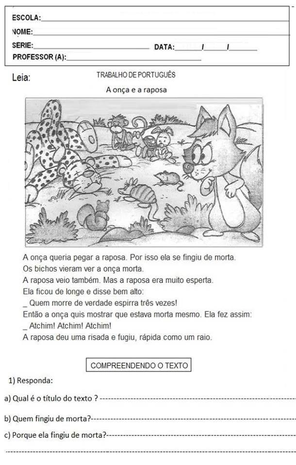 Avaliacao De Lingua Portuguesa De Chanakan Em Reading