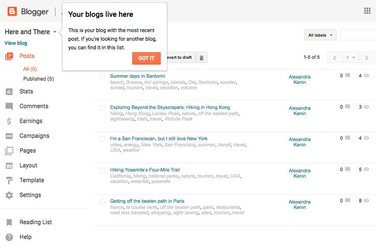 Updates in Blogger Interface